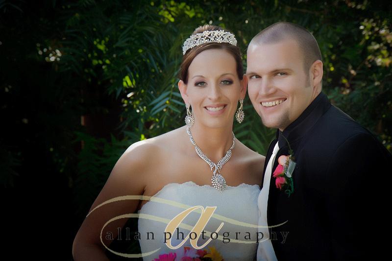 happy couple in Barone's garden in Pleasanton