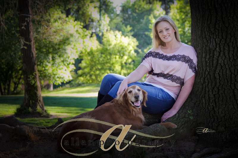 Senior portait with dog